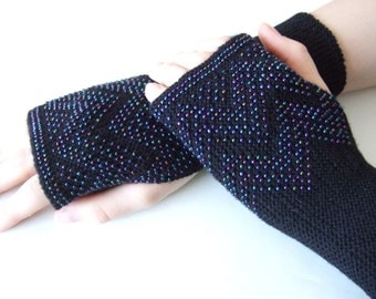 Soft and warm BEADED fingerless gloves, fingeress mittens. Knitted of Italian BLACK MERINO wool with multicolor true glass beads.