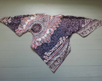 60s Women's Batik Dashiki Triangle Cut Bell Sleeve Hippie 100% Cotton Shirt