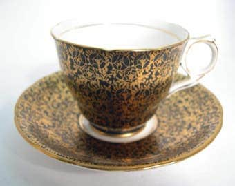 Black and Gold Royal Stafford Tea Cup & Saucer, Royal Stafford tea cup and saucer.