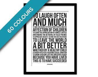 Ralph Waldo Emerson Quote Art Print - To Laugh Often - Graduation Gift - Literary Quote - Inspirational Art - Success Motivational Poster