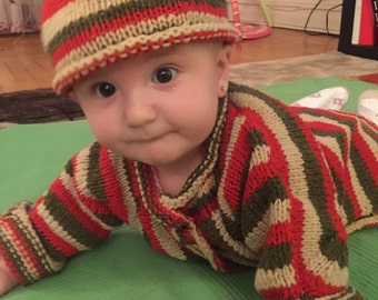 Newborn wool jacket, baby sweater, shower gift