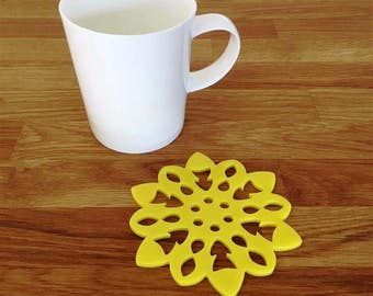 Snowflake Shaped Yellow Gloss Finish Acrylic Coasters