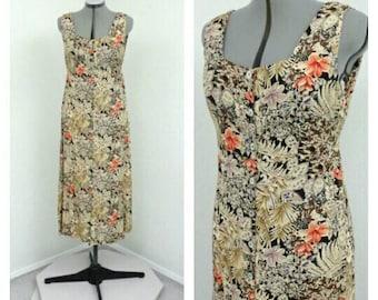 Vintage 90s Grunge Rayon Tan Floral Dress, Midi Dress, A Line Dress, Tank Dress, Casual Dress, Sleeveless Dress, Summer Dress