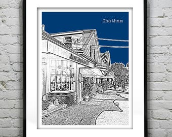 1 Day Only Sale 10% Off - Chatham Cape Cod Skyline Poster Art Print  Massachusetts MA Version 3