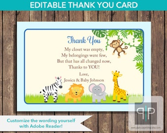 INSTANT DOWNLOAD Jungle Baby Shower Boy Thank You Card, Editable Blue Jungle Baby Shower Thank You Card, Safari Baby Shower Thank You, P8
