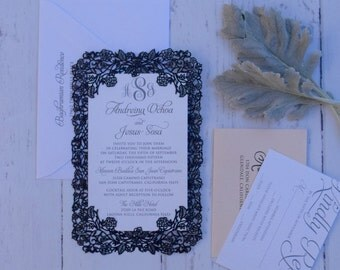 Laser Cut Floral Vines Wedding Invitation without Brooch -  Custom Handmade Invitations - Laser Cut Frame Invitation Suite