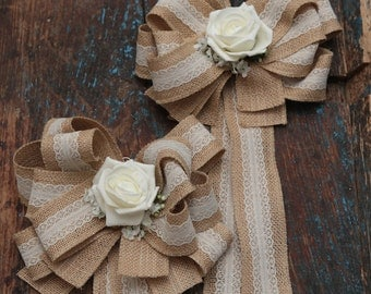 12 x  Hessian and lace bows  for church pewend or decoration