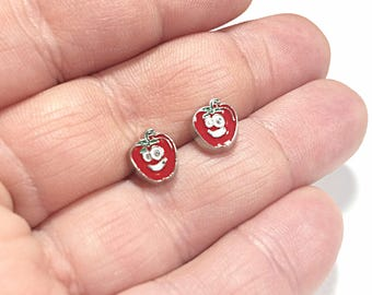 Kawaii Apple earrings - Apple face - Apple head