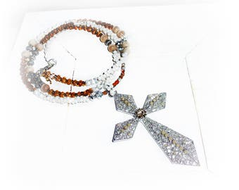 Chain, XXL cross, Farfalle beads, Cateyeperlen