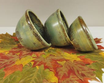 Lichen Green Forest Prep Bowl Set, Handmade Pottery Nesting Bowls