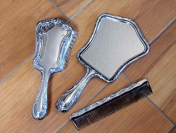 1940s Gorham Sterling Silver Dresser Set Melrose Pattern Hand Mirror Brush Comb 3 Piece Vanity Set Art Nouveau Victorian Revival Repousse