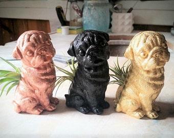 Pug, air plant holder, small dog planter, Pug statue, Pug life, pet memorial, gift for dog lover