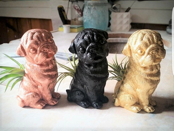 Pug, air plant holder, small dog planter, Pug statue, Pug life, pet memorial, gift for dog lover
