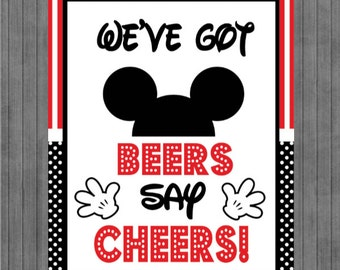 Mouse Birthday Sign, We've Got Beers Say Cheers, Red, Black