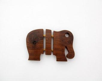 Vintage Wood Elephant Trivet