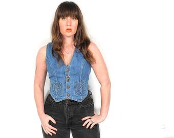 Vintage 70s Denim Vest - 70s Boho Biker Cropped Fitted Denim Vest - 1970s Hippie Southwestern Snap Up Faded Denim Cropped Jean Vest