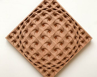 """Layered Wood: Wall Art (12"""" x 12"""" - Red Oak and Stained Maple)"""