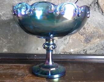 Carnival Glass Bowl, Blue Carnival Glass, Carnival Compote, Carnival Fruit Bowl, Fruit Bowl Compote, Iridescent Glass, Pedestal Bowl, 1970's