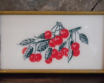 Wood and Glass Tray, Wood Serving Tray, Glass Serving Tray, Retro Kitchen Tray, 1940's Kitchenware, Mid Century Kitchen, Cherry Vine Tray