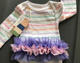 Baby Girls Onesie with attached ruffle