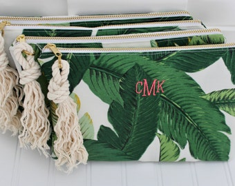 Greenery Bag - Palm Print Clutch - Bikini Bag - Bridesmaid Gift - Personalized Make Up Bag - Cosmetic Bag - Wedding Party Gift - Bride Gift