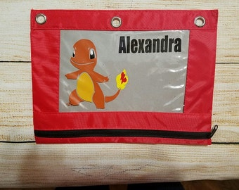 Pencil Pouch - Back To School Zippered Pencil Pouch - Case - POKEMON - CHARMANDER Vinyl Decorated Pencil Bag 3 Ring Binder Zippered Pouch