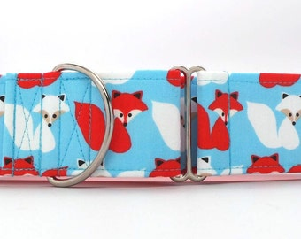 Red and White Foxes Pet Collar (Martingale, Buckle, or Tag)