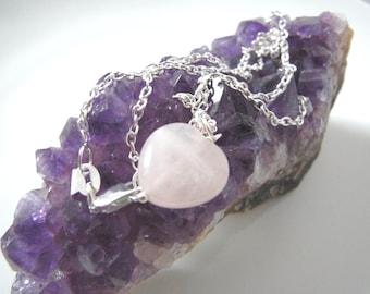 Heart Rose Quartz Gemstone Silver Necklace - Handmade Crystal Healing Sterling Silver 925 Chain Necklace. UK seller