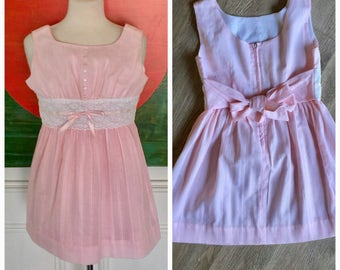 Vintage Ruth of Carolina pink white lace girls dress