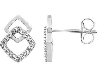 14k White Gold Diamond Geometric Earrings Fashionable Modern
