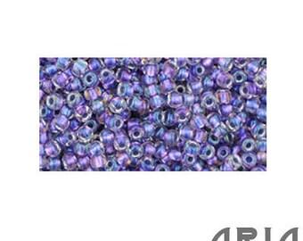 PURPLE LINED Crystal RAINBOW (265): 15/o Toho Japanese Seed Beads (10 grams)