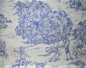 Drapery Fabric, Blue French Toile Fabric, Upholstery Fabric, French Country Home, Slip Cover Fabric, Pastoral Scene/Country Farmhouse