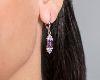 Princess. Glamorous Handmade Silver or 14K Gold Amethyst Earrings with Zircons. Amazing jewelry for your gala evening. FREE shipping