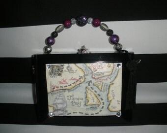 Gasparilla Pirate Map Cigar Box Purse, Cigar box Handbag, Tampa, Authentic