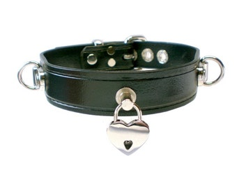 "1"" Vegan ""Leather"" BDSM Collar with small Heart Padlock and 2 Plated Dee Rings for fetish slave or submissive choker, synthetic leather"