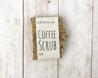 Coffee Scrub Soap, Organic, Palm Free Soap, All Natural, Scented, Vegan, Handmade, Cold Process Soap, Detox, Wildflower Seed Paper