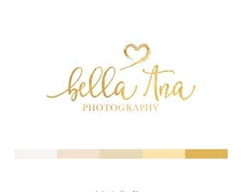 Premade Logo Design. Logo Branding. Logo Design. Photography Watermark. Blog Logo. Gold Calligraphy Logo with Hearts. Business Logo - L120