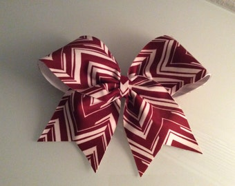 Maroon and White Cheer Bow