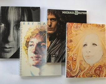 Cher, Barry Manilow, Michael Bolton & Barbra Streisand Recycled album cover notebooks -