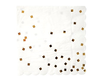 "Gold Confetti Napkins (Set of 16) - Meri Meri LARGE 6.5"" Gold Foil Party Napkins"