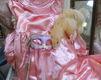 1950's Salmon Pink Satin Marie Antoinette Prom, Party, Costume, Display Gown w/Bustle & Matching Gloves