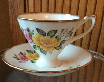 English Castle vintage cup and saucer with pink and yellow flowers