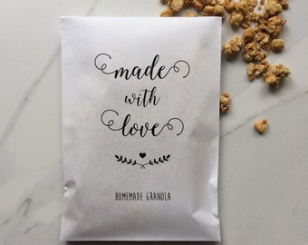Made with love Favor Bags - Set of 50 - Wedding Paper Bags - Homemade Granola