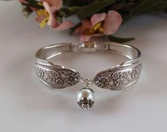 Silver Plated Spoon Bracelet Vintage Flatware Pearl Jewelry