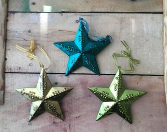 Three Metal-Tin Star Ornaments Decoration