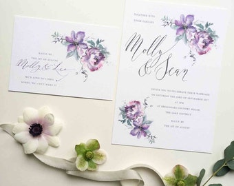 Ethereal personalised wedding invitation - stunning floral illustration in soft romantic tones