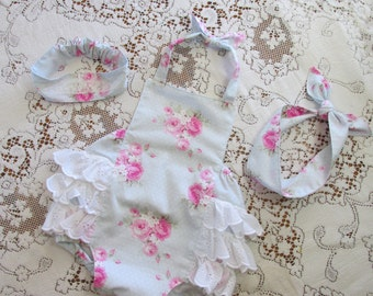 Dottie Roses Blue OR Pink Ruffled Bubble Romper - Wild Roses Pink Option - Infant Toddler Child - Knotted Headwrap - Vintage Lace Headband