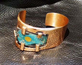 Modernist Copper Bangle Cuff Bracelet, Enamel Panel, Signed, Vintage Mid-Century 1950s