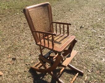 Vintage child's chair, high chair,rocking chair,wicker chair,furniture , children's  furniture ,
