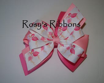 Flamingo hair bow